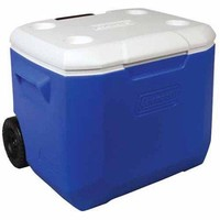 Coleman 60 Quart Portable Ice Chest Cooler w Wheels, Wheeled Rolling Cooler