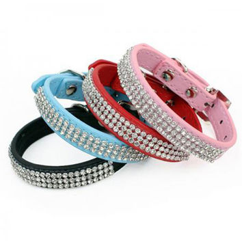 Bling Rhinestone Dog Collars Pet PU Leather Crystal Diamond Puppy Pet Collar Size S M L Collars And Leashes For Dog Accessories