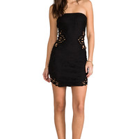 DRESS THE POPULATION Caitlyn Strapless Crochet Dress with Crochet Inserts in Black
