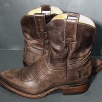 Frye 77815 Billy Short Brown Leather Cowgirl Boots Women's Size 6.5