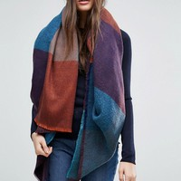 ASOS Oversized Square Scarf in Blown Up 70s Woven Check at asos.com