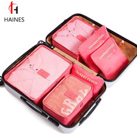 6pcs/set Women Men Travel Bags Nylon Packing Cubes Portable Large Capacity Luggage Clothes Tidy Sorting Pouch Organizers Bag