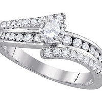Diamond Bridal Ring with 0.35ctw Center Round Stone in 14k White Gold 0.88 ctw