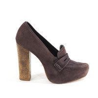 Schultz Made In Italy Stiletto Heels Brown Leather Loafers with Tall Stacked Wood Heel Size 8