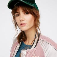 Free People Lady Luck Velvet Baseball Hat