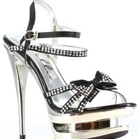 "Ellie Shoes Tess 6"" Rhinestone Strap Heel W-bow Black Eight"