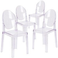 4 Pk. Ghost Chair in Transparent Crystal with Oval Back