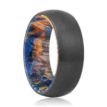 BEVERLY Tungsten Black Domed with Blue and Yellow Box Elder Inside Wood Ring.