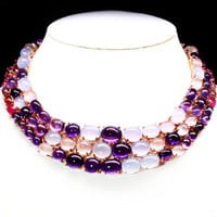 REAL PURPLE AMETHYST, CHALCEDONY, QUARTZ, RUBY & TOURMALINE 925STERLING NECKLACE
