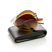 Premium Folding Pocket Metal Aviator Sunglasses + Case 8763