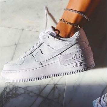NIKE AIR FORCE 1 SHADOW Hot Sale Women Sport Running Shoes Sneakers Pure White