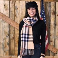 Regan Plaid Scarf - Beige