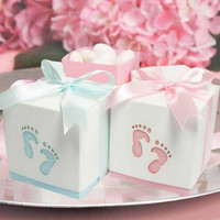 Pterry Feet Laser Cut-out Baby Shower Favor Gift Candy Box GIft Boxes For Boy Girl Brithday Party Favors Gift 12pcs