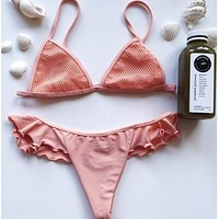Pink mesh bikini with Falbala two piece bikini