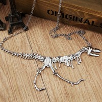 Goth Alloy Skeleton T-Rex Necklace
