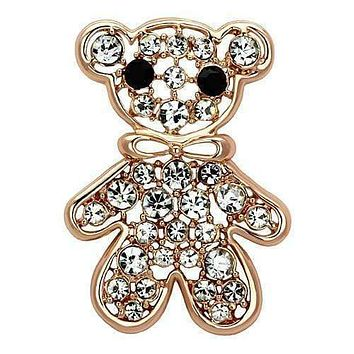 Vintage Brooches LO2792 Flash Rose Gold White Metal Brooches with Crystal