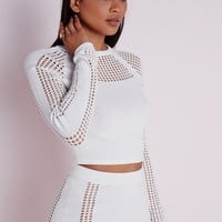 Missguided - Mesh Panel Knitted Jumper White