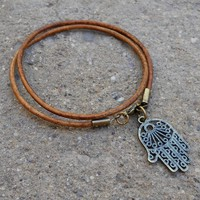 Protection - Greek Leather Wrap Bracelet Hamsa Hand