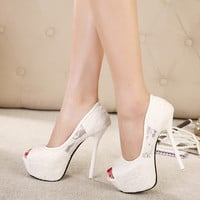 Design Summer Korean Stylish High Heel Waterproof Shoes Peep Toe Sandals [6044953025]