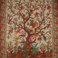"Tree of Life Tapestry Cotton Bedspread 108"" x 88"" Full-Queen Beige"