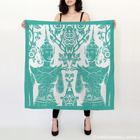 Thai Buddha Silk Scarf / Teal Green Turquoise Printed Scarf / Gift For Women / Bloom Bloom Wear
