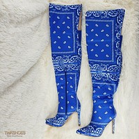 "Bad Girlz Bandanna Thigh High Boots 4"" Heels Blue Bandana"