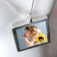 "Custom Photo Necklace - Reversible, Waterproof, Sterling Silver - Modern Locket - Medium Size (3/4"")"