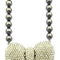 NECKLACE / PAVE CRYSTAL STONE / BOW / CHUNKY PEARL / 16 INCH LONG / 2 INCH DROP / NICKEL AND LEAD COMPLIANT
