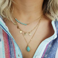 For The Details Necklace: Gold/Turquoise