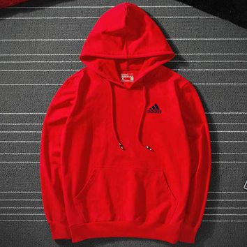 ADIDAS 2018 new cotton sports sleeve round neck sweater red