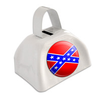 Confederate Rebel Flag White Cowbell Cow Bell