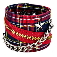 """Red Plaid With Star Stud Chain & Zipper Wristband 2-1/2"""" Wide"""