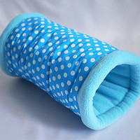 cosy cuddle tunnel / roll for guinea pigs (points on turquoise/aqua)