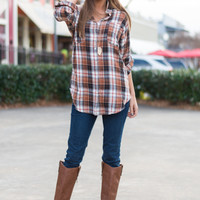 Oh So Plaid Top, Brown/Rust