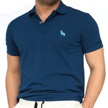 Dark Teal Blue Cotton Pique Polo