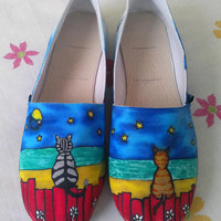 Kitty Cats Custom Hand Painted Toms Shoes by denimtrend on Etsy