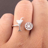 Margarita and Lime Tequila Girls Just Want to Have Fun Adjustable Ring in Silver