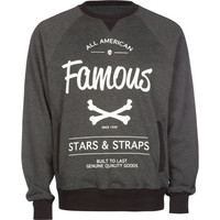 Famous Stars & Straps Built To Last Mens Sweatshirt Charcoal  In Sizes