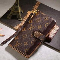 LV Louis Vuitton classic iPhone12 mobile phone case leather stitching flip phone case iPhone7 iPhone11