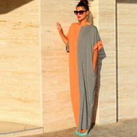 2016 denim summer dress maxi women dresses bodycon plus size long clothing orange gray mix loose cotton beach sun