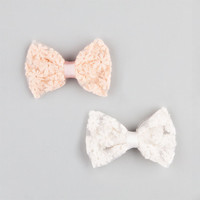 Full Tilt 2 Pack Daisy Lace Bow Hair Clips Blush One Size For Women 24188833201