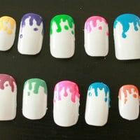 Colorful splatter paint design, custom made, hand painted artificial nails