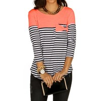 Coral Girly Contrast Top