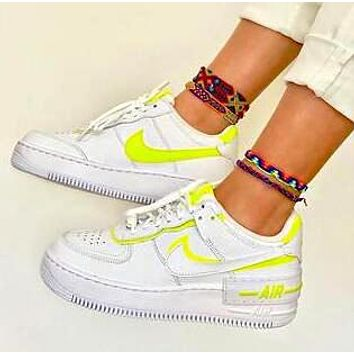 NIKE AIR FORCE 1 SHADOW Popular Women Sport Running Shoes Sneakers White&Fluorescent Green