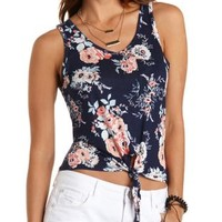 Printed Tie-Front Pocket Tank Top by Charlotte Russe