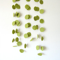 Olive Green Circle Felt Garland - home decor, felt bunting, green garland banner, birthday decorations