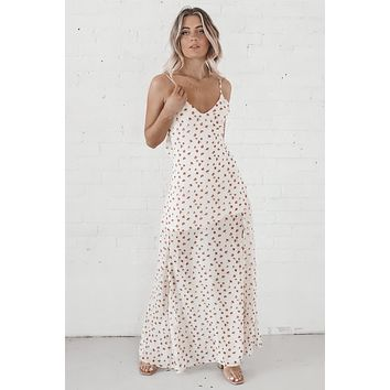 Cocktail Party Cream Maxi Dress