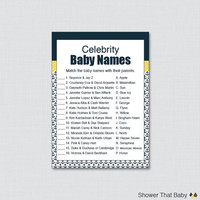 Celebrity Baby Shower Game Nautical Baby Shower Celebrity Name Match - Printable Instant Download - Navy and Yellow Nautical Anchor 0029-Y