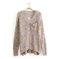 Color Long Sweater Hollow A 091129