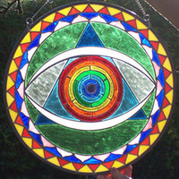 Stained Glass Gong Mandala - Glastonbury Stained Glass